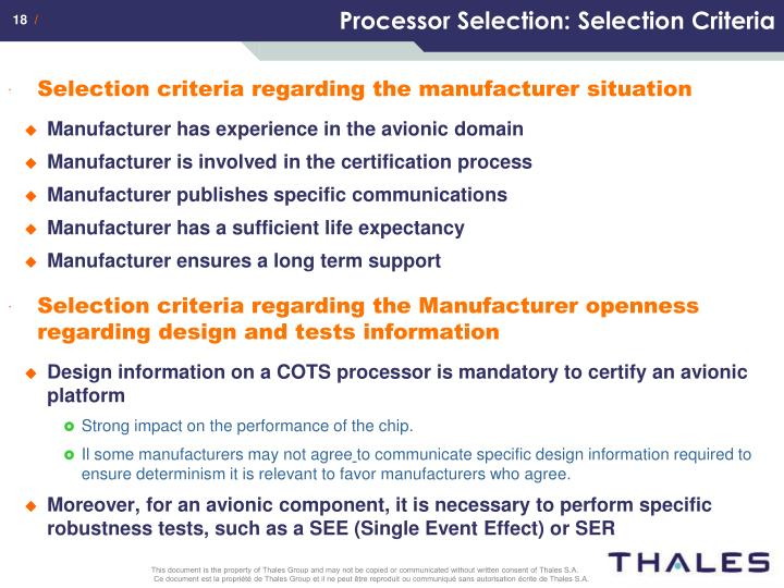 Processor Selection: