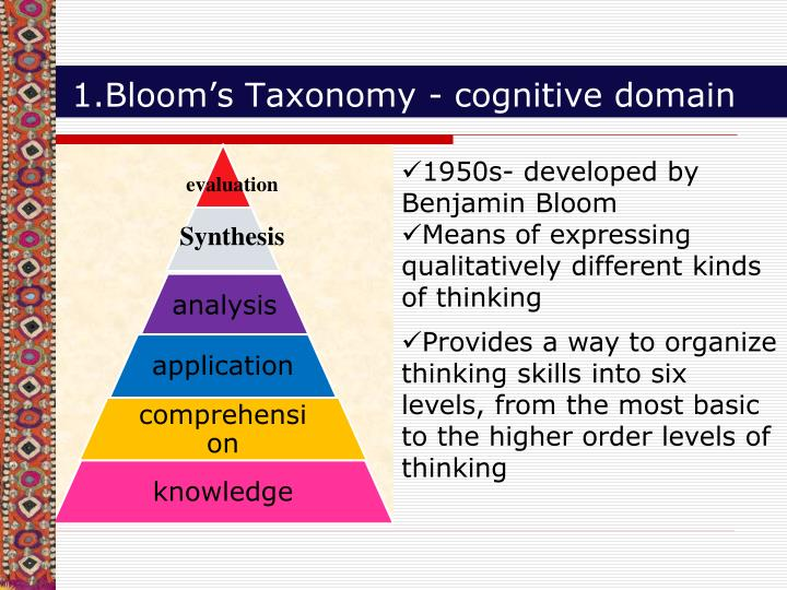 1.Bloom's Taxonomy - cognitive domain