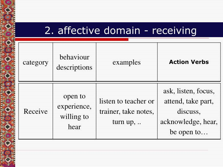 2. affective domain - receiving