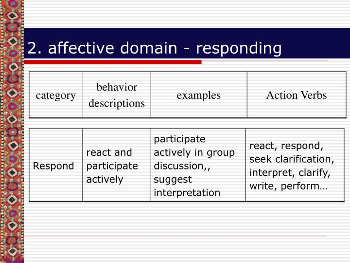2. affective domain - responding