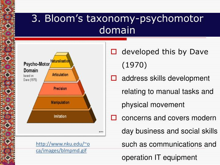 3. Bloom's taxonomy-psychomotor domain