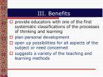 iii benefits