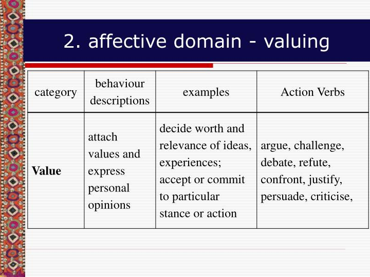 2. affective domain - valuing