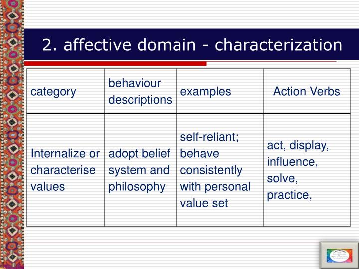 2. affective domain - characterization
