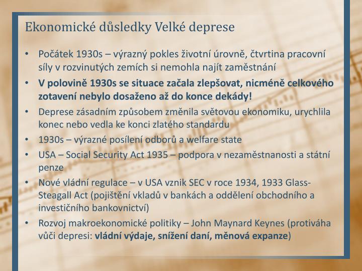 Ekonomické důsledky Velké deprese