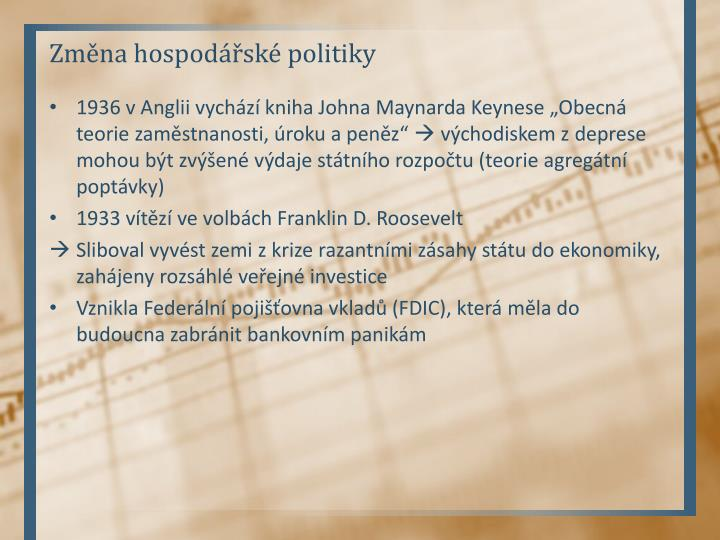 Změna hospodářské politiky