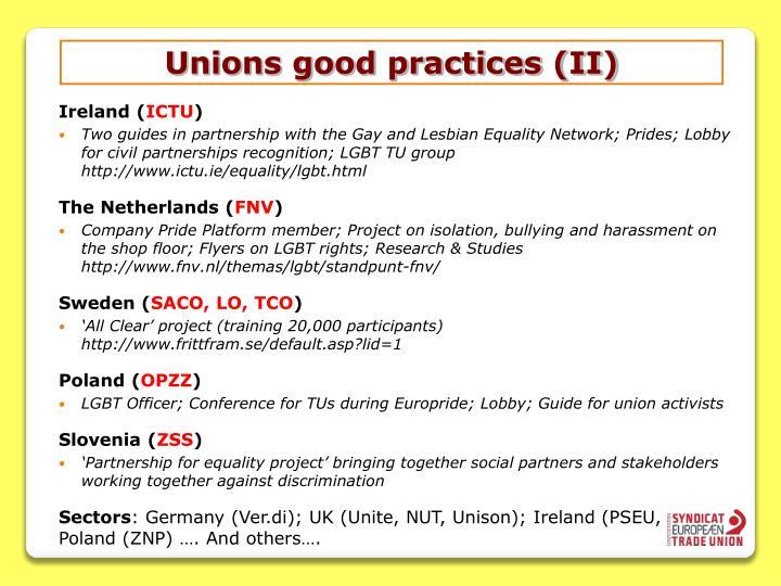 Unions good practices (II)