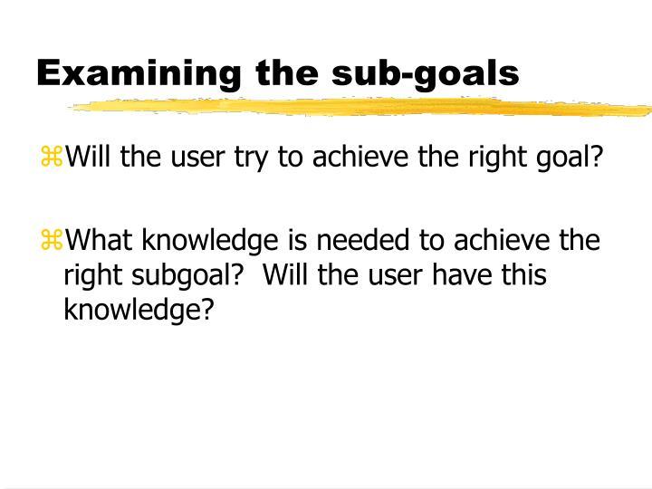 Examining the sub-goals