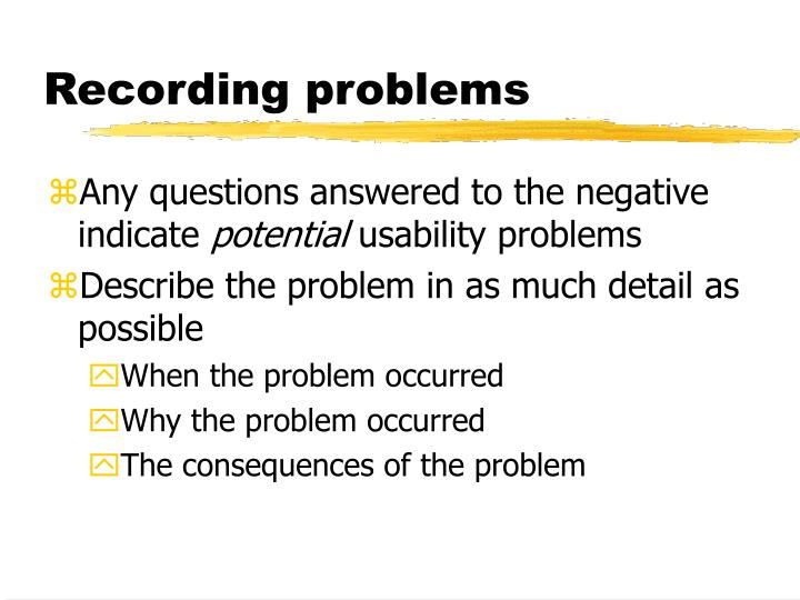 Recording problems