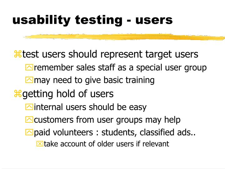 usability testing - users