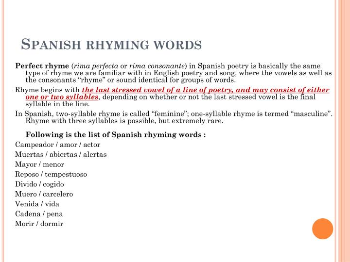 spanish rhyming words