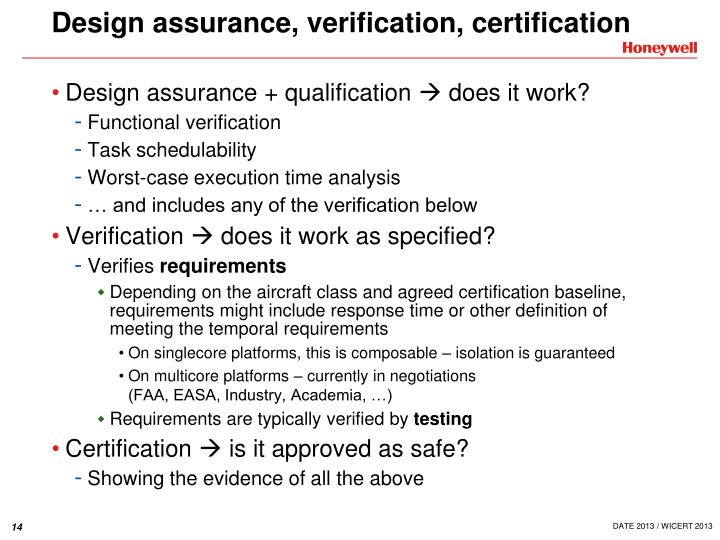 Design assurance, verification, certification