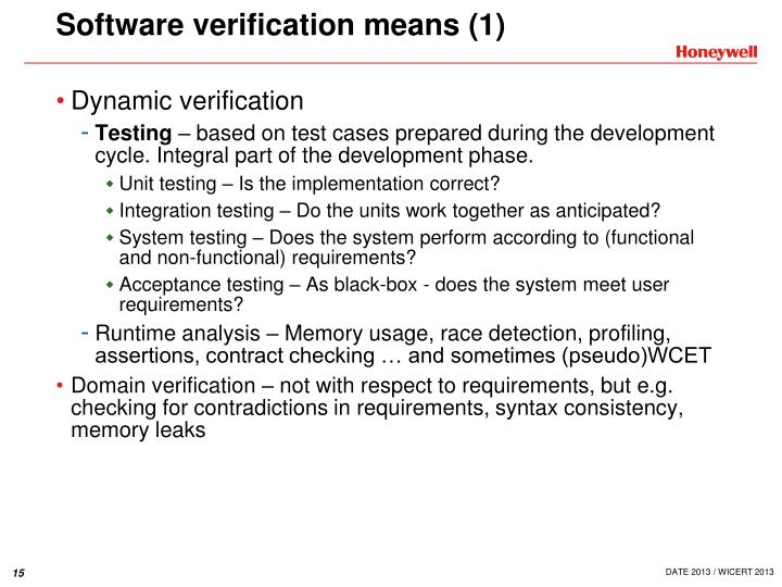 Software verification means (1)
