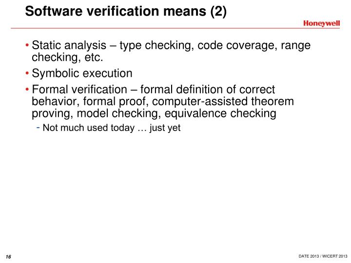 Software verification means (2)