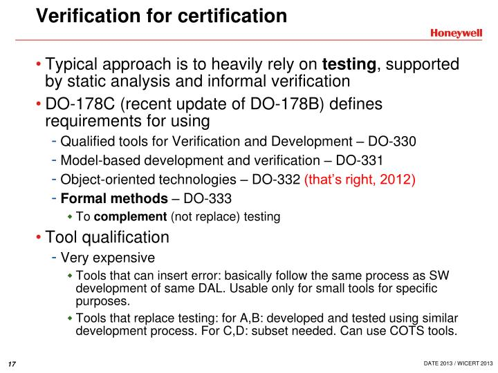 Verification for certification
