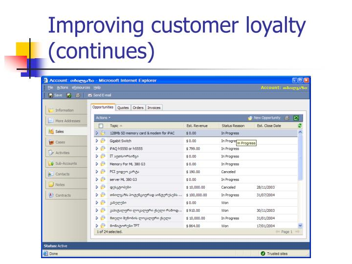 Improving customer loyalty (continues)