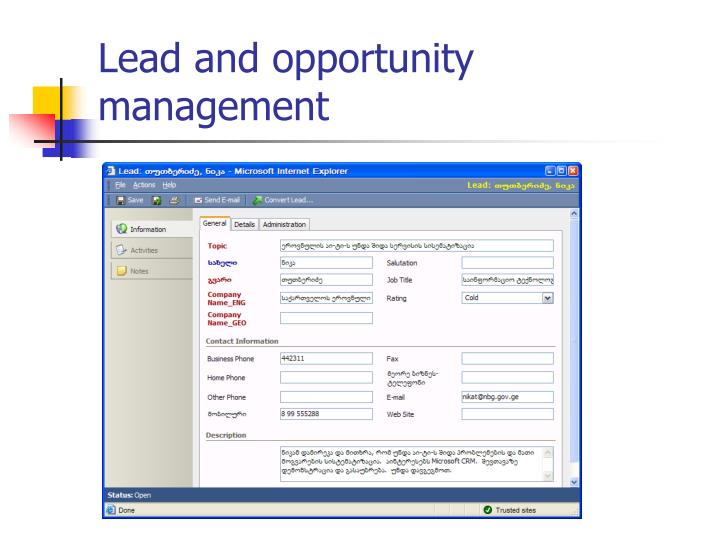 Lead and opportunity management