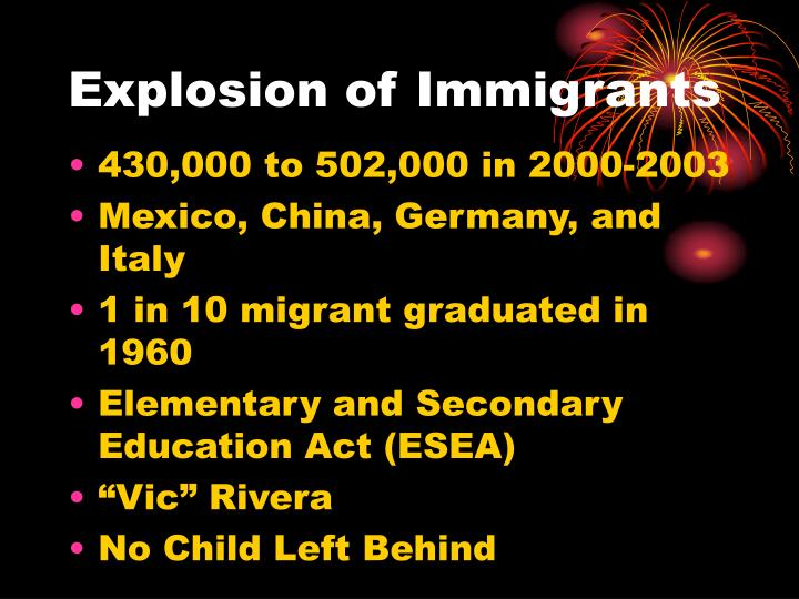 Explosion of Immigrants