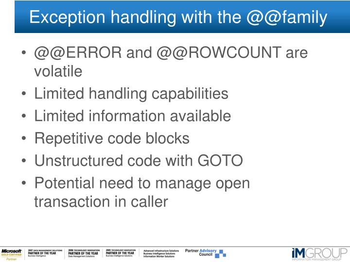 Exception handling with the @@family