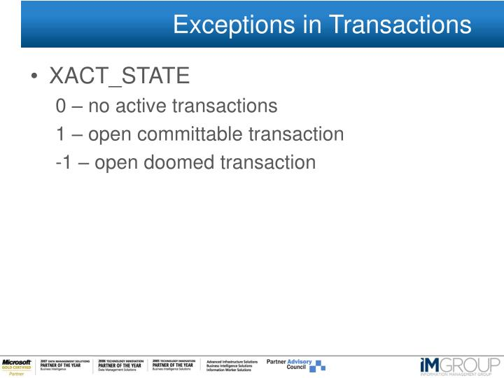 Exceptions in Transactions