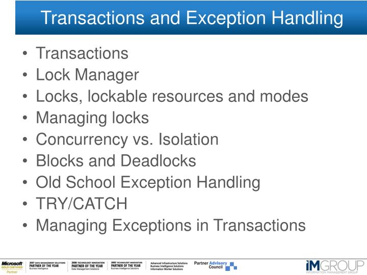 Transactions and Exception Handling