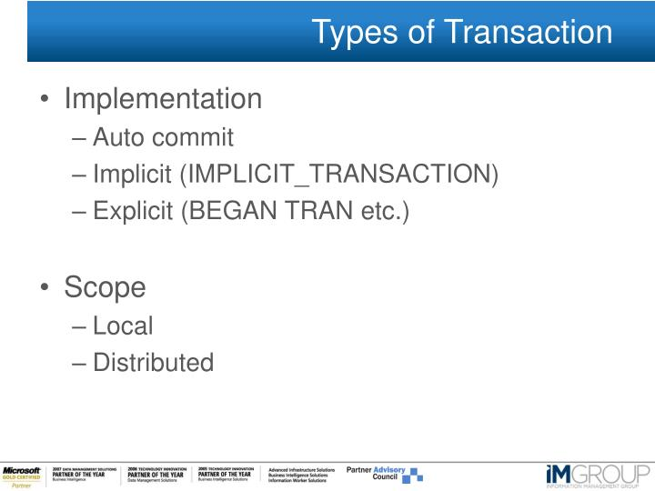 Types of Transaction