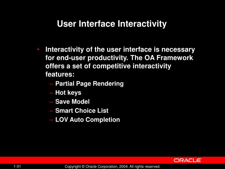 User Interface Interactivity