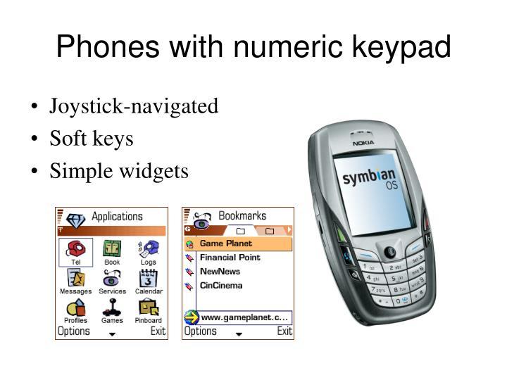 Phones with numeric keypad