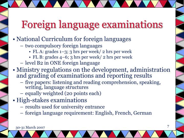 Foreign language examinations