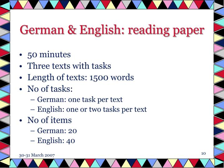 German & English: reading paper