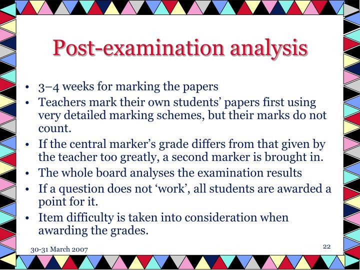 Post-examination analysis