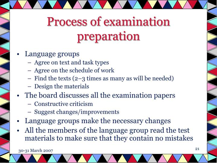Process of examination preparation