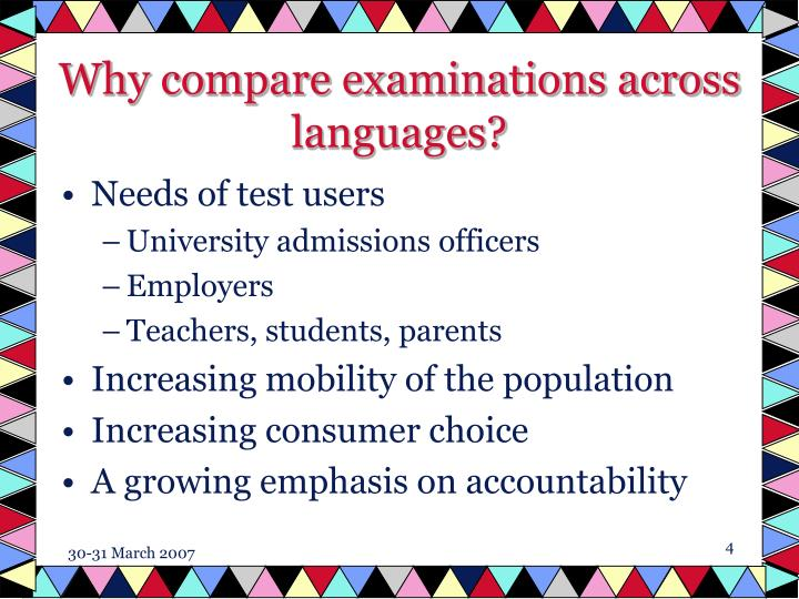 Why compare examinations across languages?