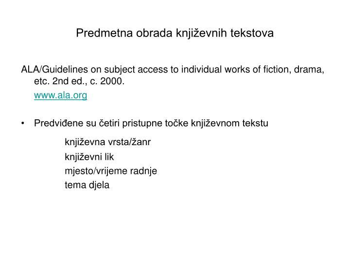 Predmetna obrada književnih tekstova