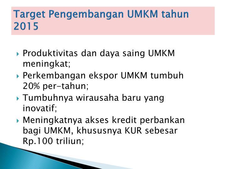 Target Pengembangan UMKM tahun 2015