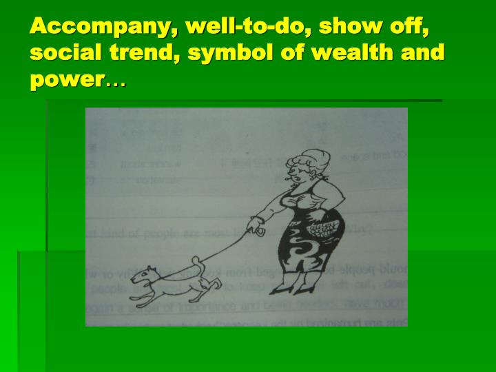 Accompany, well-to-do, show off, social trend, symbol of wealth and power