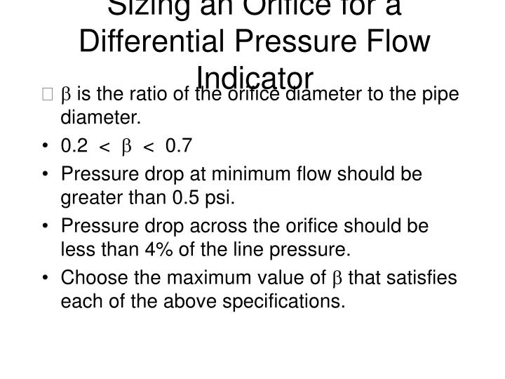 Sizing an Orifice for a Differential Pressure Flow Indicator