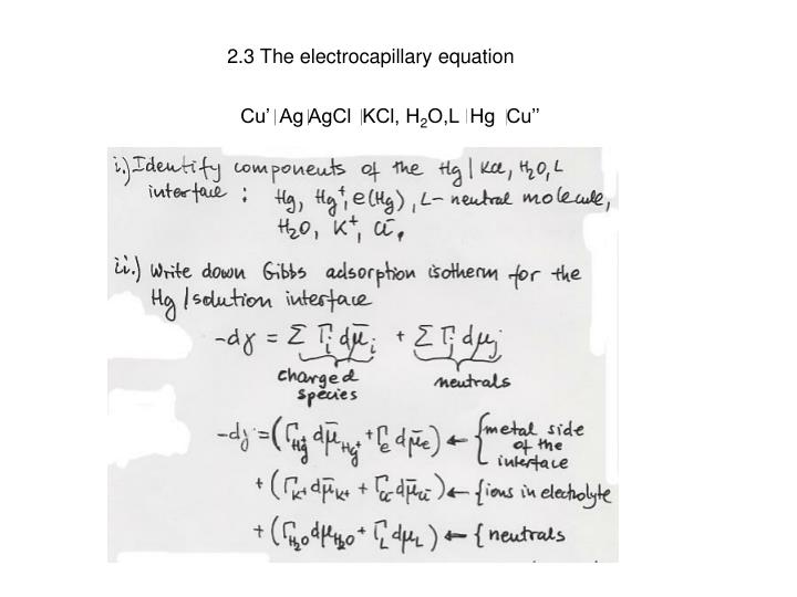 2.3 The electrocapillary equation