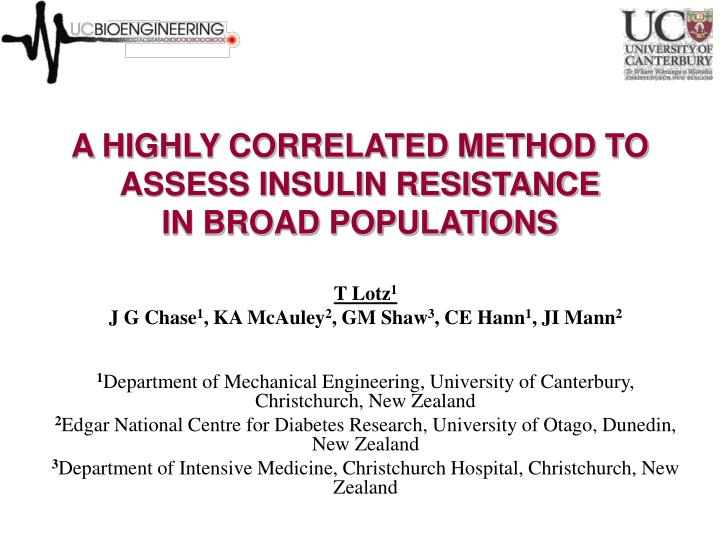 A HIGHLY CORRELATED METHOD TO ASSESS INSULIN RESISTANCE