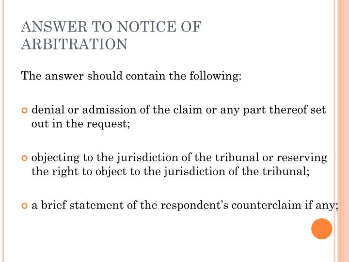 ANSWER TO NOTICE OF ARBITRATION
