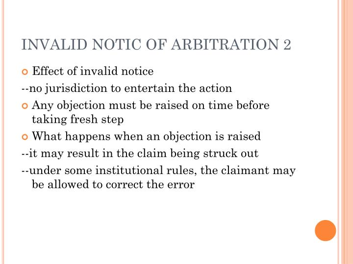INVALID NOTIC OF ARBITRATION 2