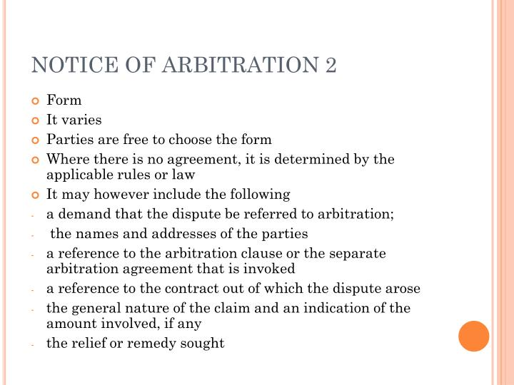 NOTICE OF ARBITRATION 2