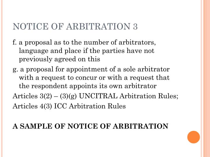 NOTICE OF ARBITRATION 3