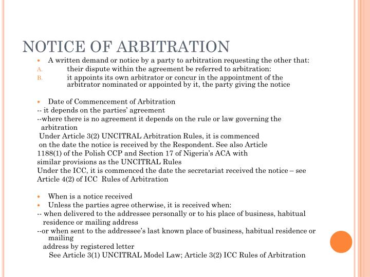 NOTICE OF ARBITRATION