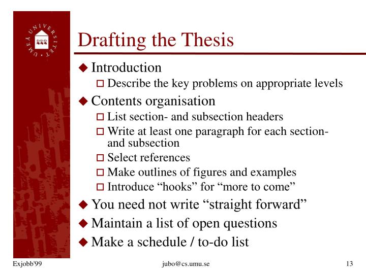 Drafting the Thesis