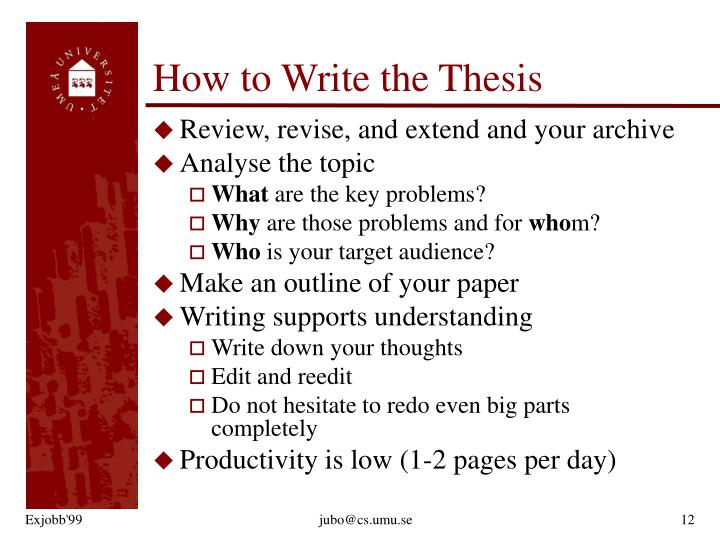 How to Write the Thesis