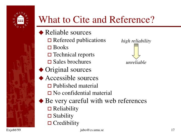 What to Cite and Reference?
