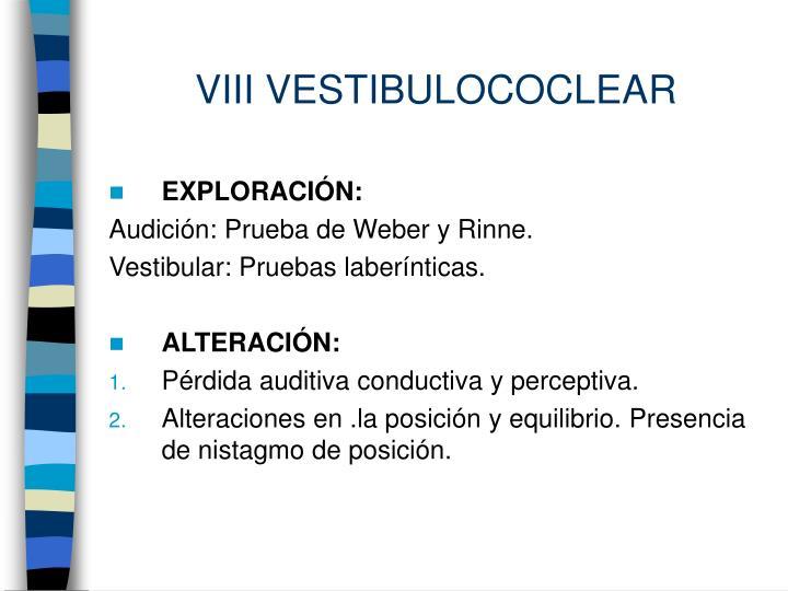 VIII VESTIBULOCOCLEAR