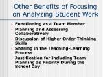 other benefits of focusing on analyzing student work