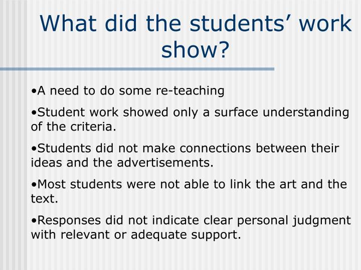 What did the students' work show?